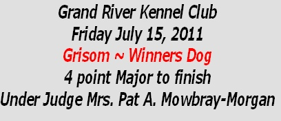 Grand River Kennel Club Friday July 15, 2011 Grisom ~ Winners Dog 4 point Major to finish Under Judge Mrs. Pat A. Mowbray-Morgan